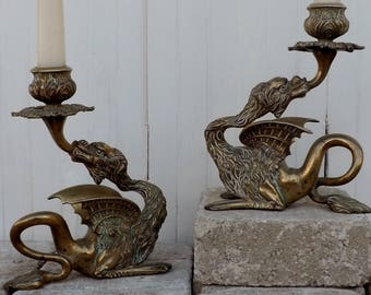 Antique dragon candlesticks pair dragon griffon candlestick holders candleholders Victorian Gothic home decor brass dragon candleholders