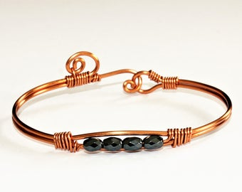 Copper Wire Wrapped  Haematite Bracelet/Bangle ~ Gift for Her