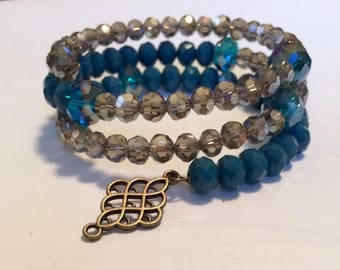 Opaque Teal and Smokey Crystal Memory Wire Bracelet