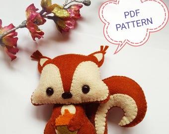 Squirrel PDF pattern-Woodland animals toy-DIY-Nursery decor-Baby's mobile toy-Felt Squirrel toy-Kids present-Felt ornament