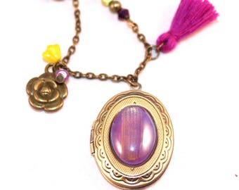 Long Locket necklace photo purple and yellow
