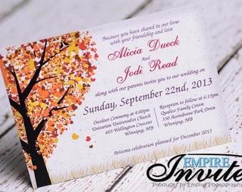 Woodsy Fall Heart Oak Tree Wedding Invitations | Fall Wedding Invites  Handmade In Canada By Empireinvites