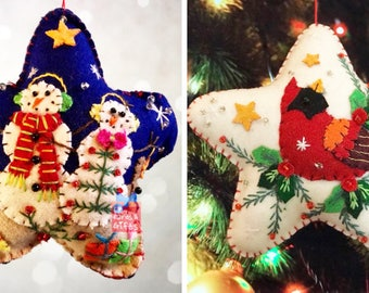 2 x Christmas star & Bird Handcrafted felt Christmas tree decoration / christmas tree felt hanging/ Christmas felt ornament/ gift