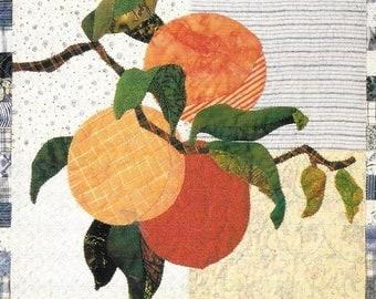 Piece O Cake Designs Plump Peaches 1800s Botanicals Quilt Block Pattern Simply Delicious Series Chart Pack Applique Design Orange and Blue