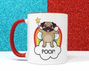 Poof pug mug, gay mug, LGBT mug, gay gifts, pug mug, funny mug, ceramic mug, gift for him, tea cup, coffee cup, home and living, gay pride