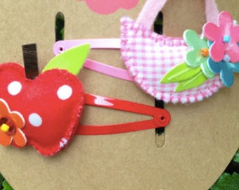 Girls Red Riding Hood Basket and Apple Hair Clips