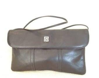 15% SUMMER SALE Vintage PIERRE Balmain black leather shoulder bag and clutch with logo