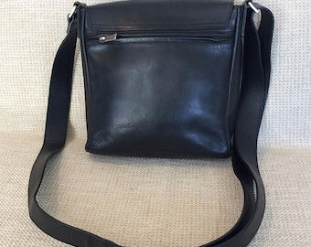 20% SUMMER SALE Genuine vintage Bree black leather front flap shoulder bag messenger crossbody
