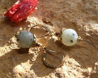 Gold and Jasper dangle earrings.