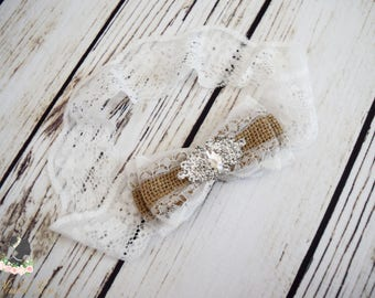 Handcrafted White Burlap Silk and Lace Bow Headband - Burlap Wedding Accessory - Flower Girl Headband - Newborn Photography Prop - Fancy Bow