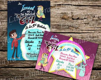 star vs the forces of evil Birthday party Invitation digital download