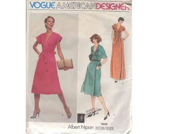 "Vogue American Designer #1656 Albert Nipon Wrap Dress Cap or Cape Sleeves Mid or Maxi Evening Length Dress Size UK 14 Bust 36"""