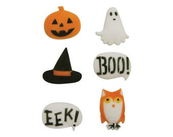 12 Halloween Spooktacular Creatures Molded Sugar Cake / Cupcake Topper Decorations Boo Jackolantern Owl Ghost Ghoul Witch