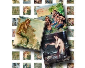 SALE- Vintage Mermaid Art - Digital Collage Sheet   - .75 x .83 Scrabble Size - INSTANT DOWNLOAD