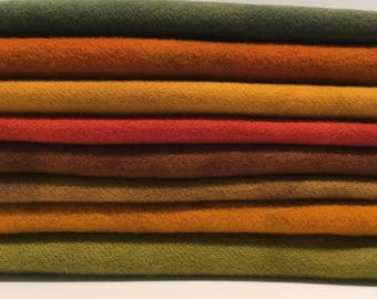 """hand dyed and felted wool for rug hooking and fiber arts """"fall assortment"""""""