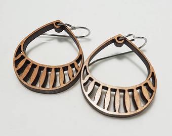 Basket Earrings in wood, cherry wood jewelry, wood jewelry, dangle earrings, drop earrings, bamboo earrings, alternative jewelry