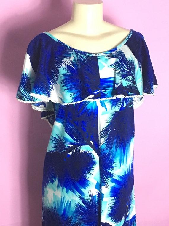 Vintage 60s 70s Hawaiian Palm Tree Resort Style Dress M L
