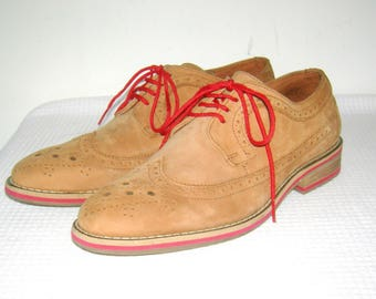 Vintage J.D. FISK Shoes/ Oxford/ Wingtips/ Brown/ Red/ Nubuck Suede/ Leather/ Shoes/ Crepe Rubber sole/ Leather Stack Heels/ Men's/ Size 8.5