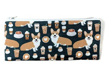 Corgis and Coffee Pencil Case, Toiletry Bag, Corgi Cosmetic Bag, Makeup Bag, Tampon Case, , Coin Purse, Pencil Pouch