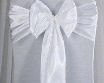 25x White Satin Chair Sashes Bow Cover for Wedding Engagement Event Party Reception Ceremony Bouquet Baptism Decoration
