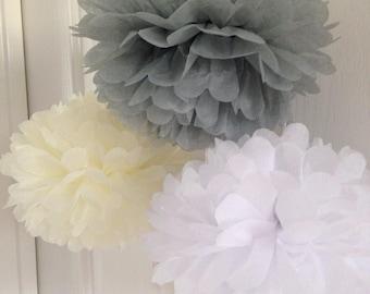 18x Mixed Size Grey White Cream Tissue Paper Pom Pom Wedding Birthday Party Anniversary Engagement Christening Baptism Bridal Shower Decor