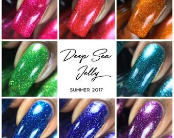 Bright Jelly Nail Polish Collection, Holographic Flakie Polish, Shimmer Polish, Indie Nail Lacquer, Custom Nail Color, Gift for Her, Vegan