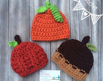 Fall crochet hats,halloween hats,crochet pumpkin hat,crochet baby hat,crochet apple hat,props,photo props,crochet acorn hat,newborn props