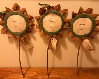 """Primitive Sunflower Frame, Fabric Sunflower Photo Frame on Cinnamon Stick with """"Giggle"""" or """"Laugh"""" Tag"""