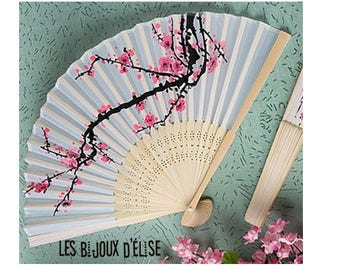 Flower Bamboo Wood Fan Polyester Fan Bridal Wedding Accesory Costume Fan Gothic Fan Vintage Look (FAN04)