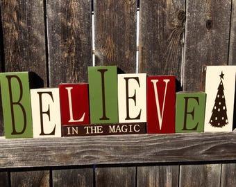 Believe in the Magic of Christmas wood blocks-Christmas blocks
