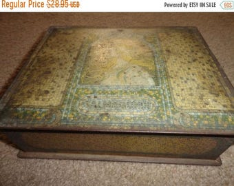 50% OFF Very old tin jewelry box or knick knack box