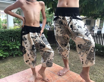 Dad and Me Black and White  pants Handmade pants, Thick Smock Waist Low Crotch - elastic waistband