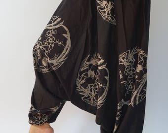 HC0456 Aladdin Pants, Harem Pants 100% Cotton Harem Pants Unisex Low Crotch Yoga Trousers