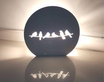 Love Bird Plast wood wall lamp,Kids Wall Lamp, lighting bedroom , wall art,Wall Lighting,