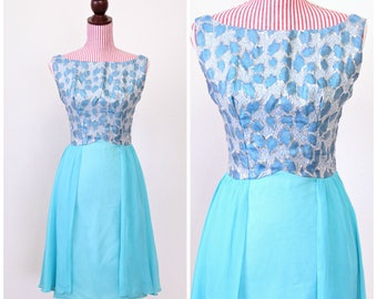 1960s VINTAGE Dress / 60s Dress / Aqua / Silver / Chiffon / Mini