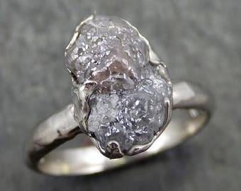 Rough Diamond Engagement Ring Raw 14k White Gold Ring Wedding Diamond Solitaire Rough Diamond Ring byAngeline 0642.1