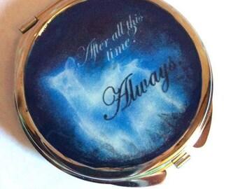 "Harry Potter Severus Snape ""Always"" Fan Art double sided compact pocket mirror"
