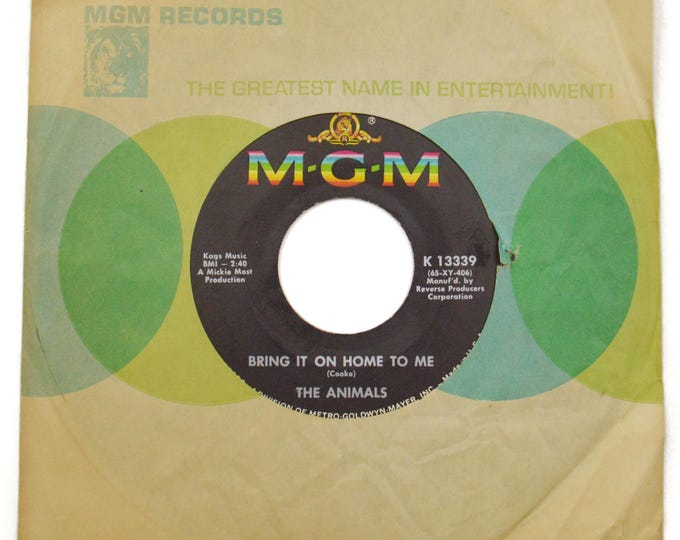 Vintage 60s The Animals Bring It On Home To Me British Invasion 45 RPM Single Record Vinyl