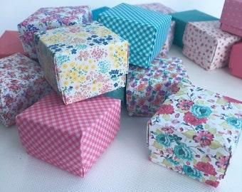 20 mini origami favour boxes floral tea party