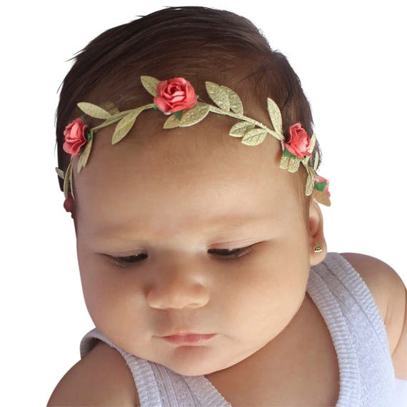 Coral Headband for Babies, Grecian Headband, coral and Gold headband, Coral Baby Headband, Coral Birthday Headband, Coral Infant Headband