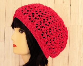 Women's Slouchy Beanie, Slouchy Hat, Vegan Hat, Pink Beanie, Pink Hat, Hot Pink Hat, Baggy Beanie Hat, Cotton Beanie, Women's Gift, Sue Maun