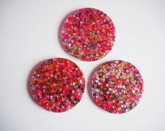 Colourful Rainbow Sequin Resin Coasters, Sparkly Sequin Coaster Set, Multicoloured Sequin Resin Coasters, Rainbow Coloured Homewares,