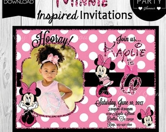 Invitation Minnie 1st Birthday Theme Party - Personalized Invitation - Printable Digital File DIY Printing Custom Photo 2nd 3rd 4th 5th