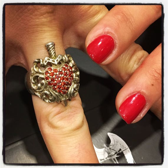 Etherial Jewelry Rock Chic Talisman Luxury Custom Handmade Artisan Pure Sterling Silver .925 Heart Dagger Ring with Red Garnet Gemstones