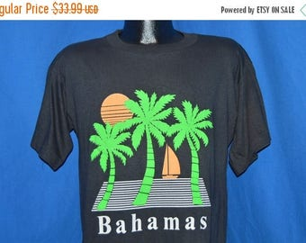XMAS in JULY SALE 80s Bahamas Sunset Palm Trees Puffy Paint t-shirt Large