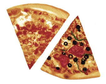 Iron on Fabric Appliqué set - Realistic Pizza Slices Fast Food Junk Cheese DIY No Sew Patch