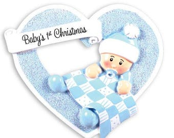 Baby Boy Heart First Christmas Personalized Christmas Ornament / Baby's 1st Christmas / Baby's First Christmas Ornament / New Baby Ornament