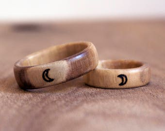 Crescent Moon Ring Set, Moon Rings, Rustic Wedding Rings, Wooden Ring Set, Wooden Rings, Wood Burned Ring, Anniversary Ring Set, Wood Rings