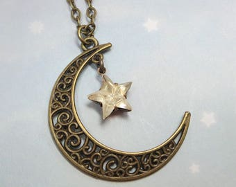 Moon and Star Necklace Celestial Crescent Moon Crystal Star Necklace Pendant