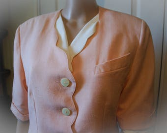 Jacket or top vintage women Pink salmon.  1940s style